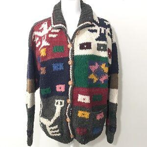 Vtg Hand Made Cardigan Aztec Tribal Chunky Knit